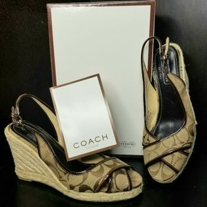 Coach brown signature wedge shoes